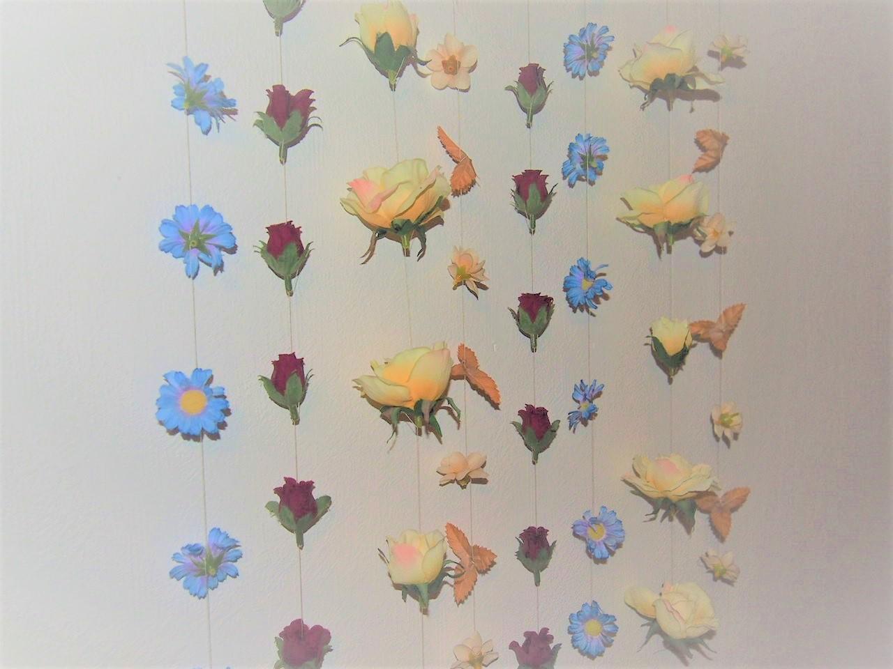 Återbruk, sy väggdekoration plastblommor