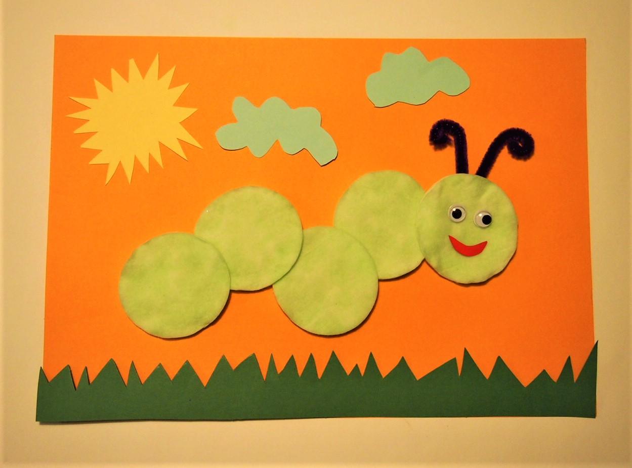 Pyssel, dekorera bomullspads larv