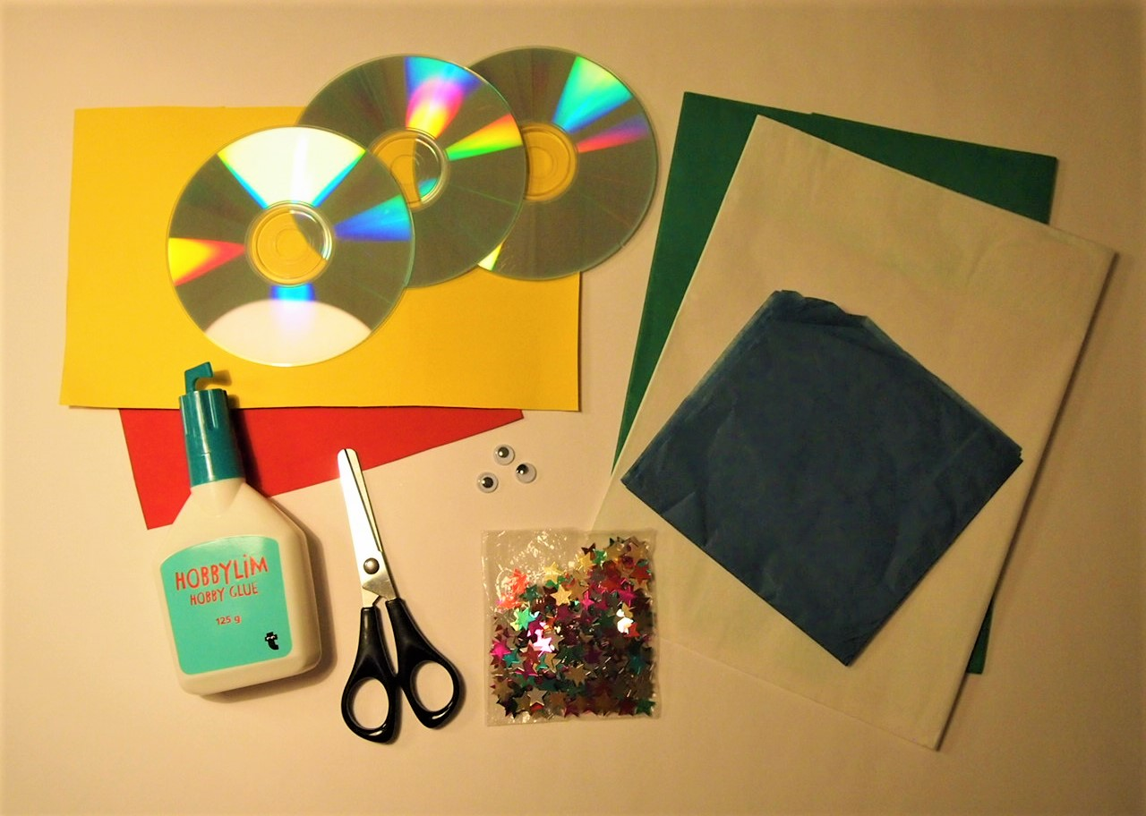 Pyssel, material cd-skiva fisk