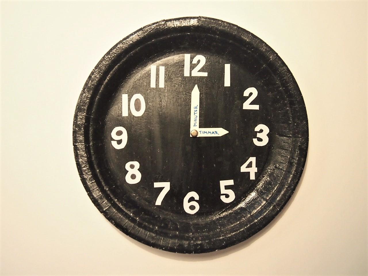 Pyssel, visare papptallrik klocka