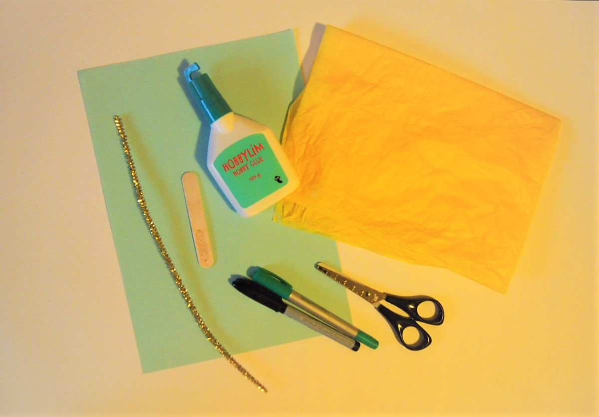 Pyssel, material silkespapper solros