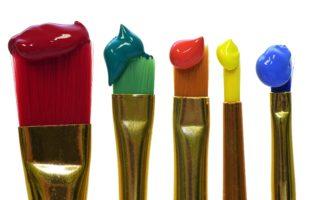 Måla, akrylfärg penslar färger
