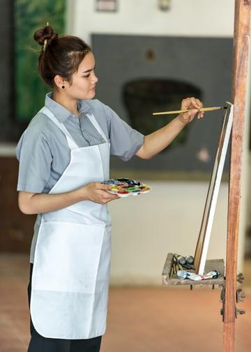 Måla, akrylfärg staffli
