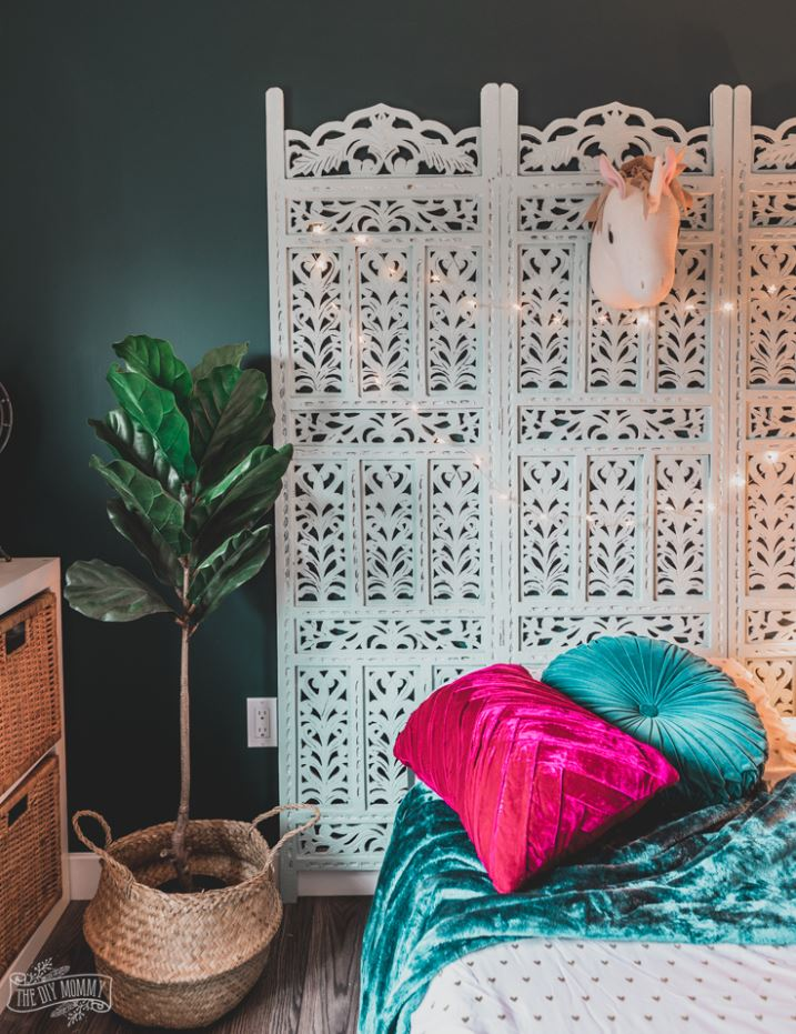 bohemisk sänggavel, rumsavdelare, sovrum